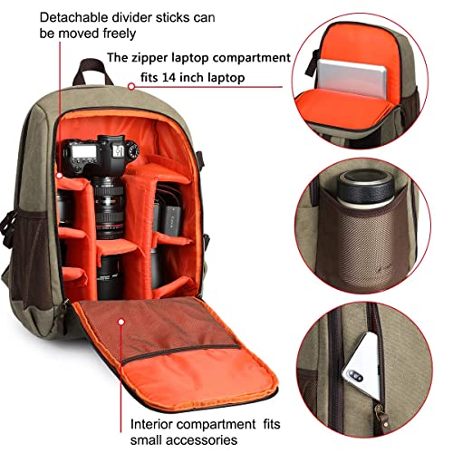 Tripod Holder for Women and Men BAGSMART Camera Backpack Light Olive Green Anti-Theft DSLR SLR Camera Bag Water Resistant Canvas Backpack Fit up to 15 Laptop with Rain Cover