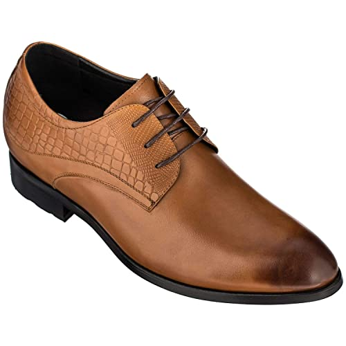 d204afcf2d4 CALTO Height Increasing Elevator Shoes 3 Inches Taller - Light Tan Leather  Dress Shoes - Men