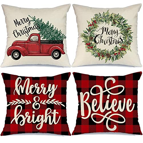 Nature Christmas Decor Throw Pillows Merry and Bright Christmas Decor 16 x 16 Inch Winter Holiday Rustic Farmhouse Linen Cushion Case for Sofa Couch Merry And Bright Christmas Pillow Covers