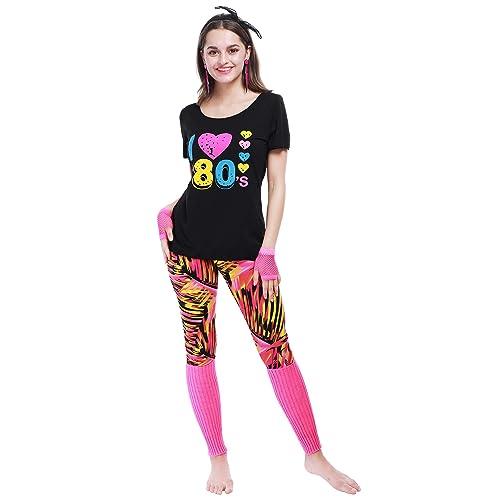 80s Women Party Cosplay Set Headband Leggings Multi Sizes Fishnet Gloves Leg Warmers T-Shirt Earrings