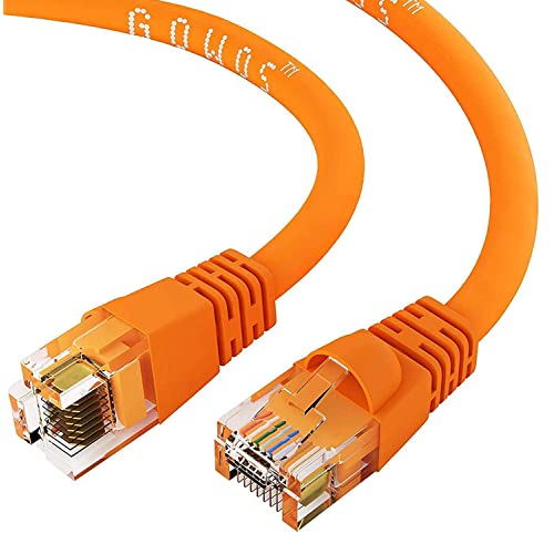 CABLECHOICE 100-Pack Computer Network Cable with Snagless Connector UTP Available 28 Lengths and 10 Color RJ45 10Gbps High Speed LAN Internet Patch Cord 1.5 Feet - Orange Cat5e Ethernet Cable