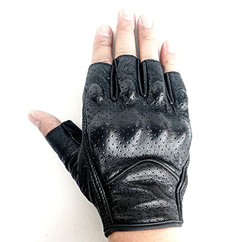 3XL Regular Milwaukee MOTORCYCLE RIDING LEATHER AMERICAN DEER SKIN FINGERLESS GLOVES VERY SOFT LEATHER