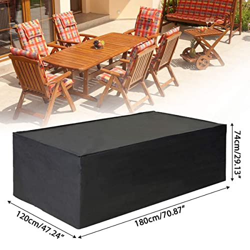 74cm Heavy Duty 420D Oxford Fabric Patio Table Covers Rectangular Windproof Anti-UV Patio Furniture Cover【Upgraded Version】 123 GNEGNI Garden Furniture Covers 123