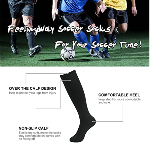 diwollsam Men Tube Socks 8 Pairs Unisex Knee High Large Casual Dress Stripes Football Volleyball Sport Team Gift Socks Size 7-13 Black