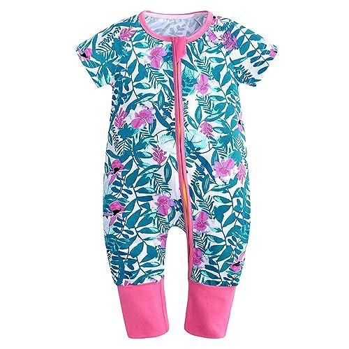 Mary ye Baby Boys Girls Short Sleeve Zipper Romper 1Piece Cotton Pajama Sleeper