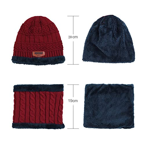HIDARLING Kids Warm Knitted Beanie Hat and Circle Scarf Set Fleece Liner Skull Cap