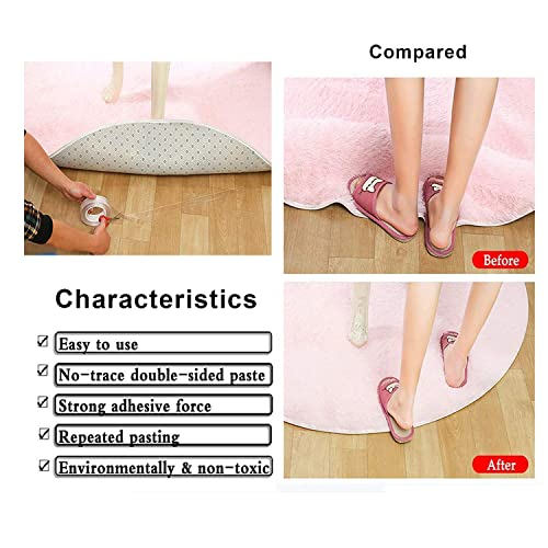 【2019 New】16.5Ft Washable Reusable Adhesive Nano Tape Free to Remove Transparent Traceless Tape,Silicone Double-Sided Tape Stick for Paste Posters and Photos Paste Items etc(16.5Ft) Fix Carpet mats