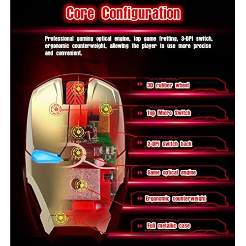 Black Avengers Endgame Iron Man Mouse Wireless Mouse Ergonomic 2.4 G Portable Mobile Computer Click Silent Mouse Optical Mice with USB Receiver Gaming Mouse