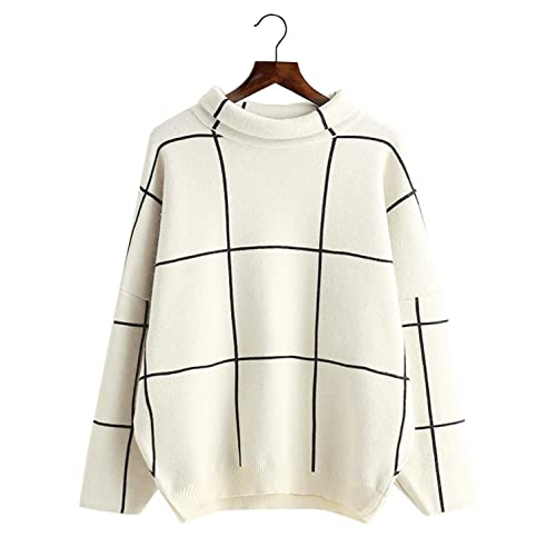 Doballa Womens Solid Long Sleeve Cable Twist High Neck Knitted Pullover Sweater Dress