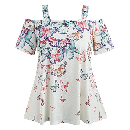 HIKO23 Women Plus Size Cold Shoulder Short Sleeve Shirts Casual Butterfly Print Asymmertic Tunic Tops
