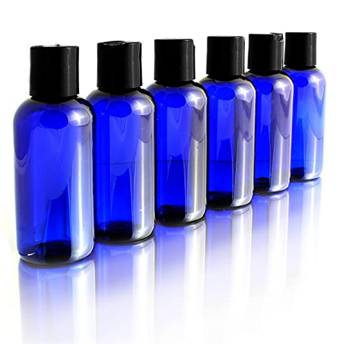 d70f60a35976 4oz Empty Cobalt Blue Plastic Squeeze Bottles with Disc Top Flip Cap (6  pack); BPA-Free Containers For Shampoo, Lotions, Liquid Body Soap, Creams  (4 ...