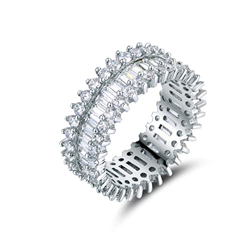 Barzel 18k White Gold//Rose Gold /& Gold Plated Eternity Oval Cut Cubic Zirconia Eternity Ring Band