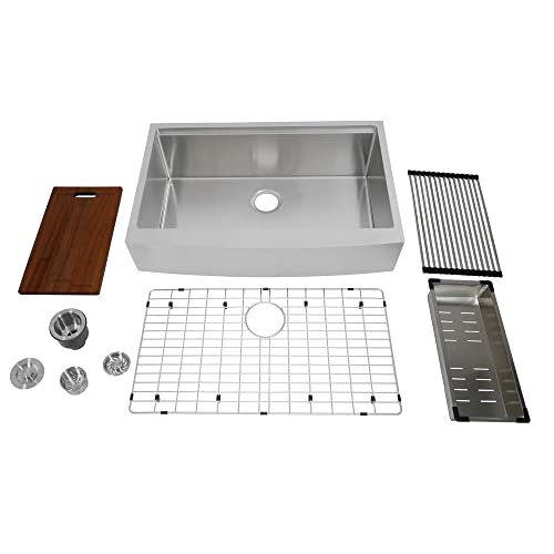 Auric 33 Inch Retro Fit Curved Apron Front Workstation Farmhouse Kitchen Sink 16 Gauge Stainless Steel Short Apron Single Bowl Scal 16 33 Retro Sgl Combo Buy Products Online With Ubuy Kuwait In Affordable Prices B01jnd86fk