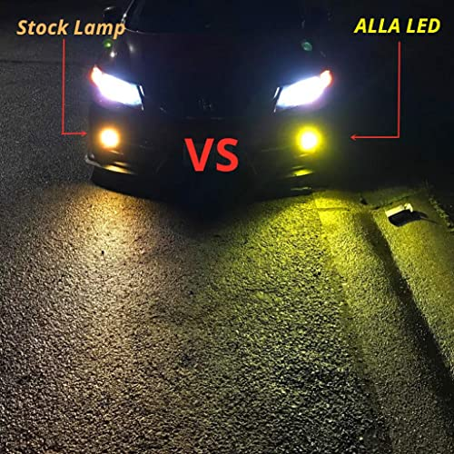 Alla Lighting 2800lm Xtreme Super Bright H11 LED Bulbs Fog Light High Illumination COB-72 LED H11 Bulb H8 H16 H11 Fog Lights Lamp Replacement 3000K Amber Yellow