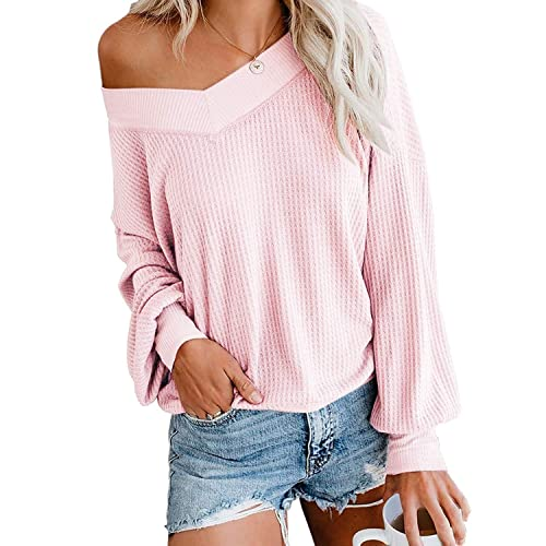 AUSELILY Women/'s V Neck Long Sleeve Casual Waffle Knit Tops Off Shoulder Pullover Sweater