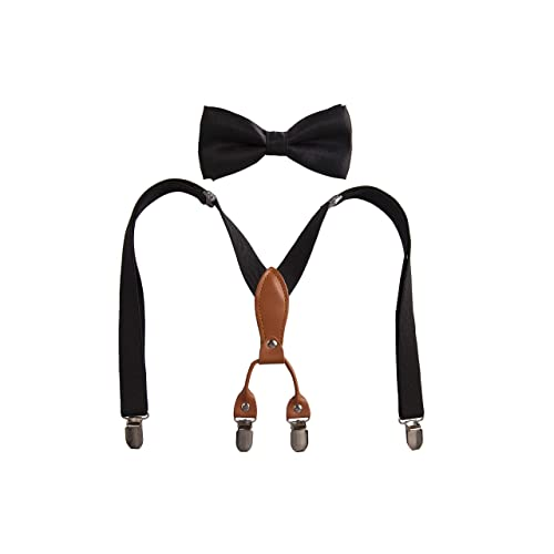 3 Years - 9 Years 1 Inch,Black Leather Brown,27 inches Men Boy Suspenders Bow Tie Set Y Shape Elastic Adjustable Suspender with 4 Strong Clips