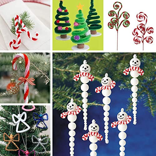 Caydo 750 Pieces Christmas Pipe Cleaners Sets Including Pipe Cleaners Pom Poms Mixed Color Jingle Bells Pony Beads and Resin Buttons for Xmas Festival Decoration DIY Craft Wiggle Eyes