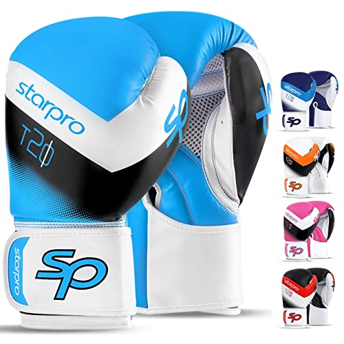 Maxx Blue//White boxing gloves Junior kids /& adult sizes Rex leather 4oz 16oz