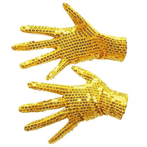 Funny Halloween Stage Mermaid Costume Reversible Sequin Gloves Fingerless Mitten