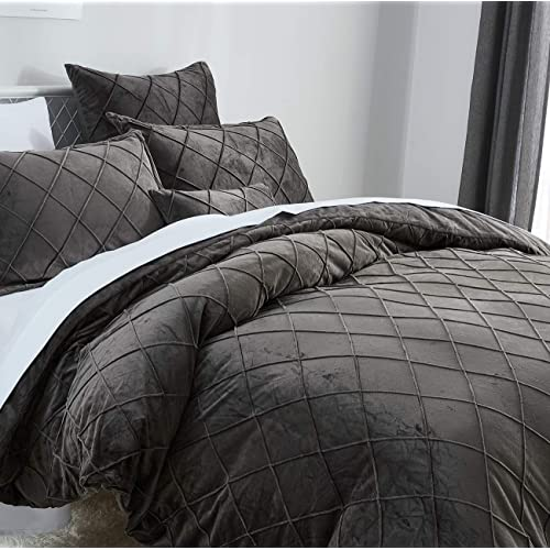 Pinch Pleated Pintuck Bedding with Home Decor Ruffle Soft Warm Luxury Heavyweight for Winter PHF Crystal Velvet Duvet Cover Set Queen, Charcoal