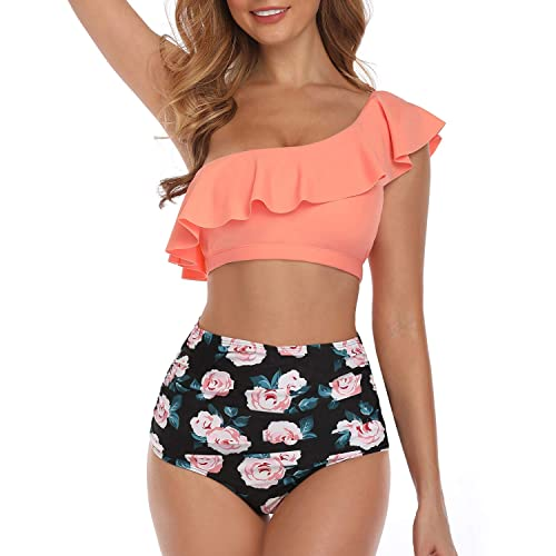Tempt Me Women Two Piece Swimsuits High Waisted Bikini Front Tie Knot Ruffle Tummy Control Bathing Suit