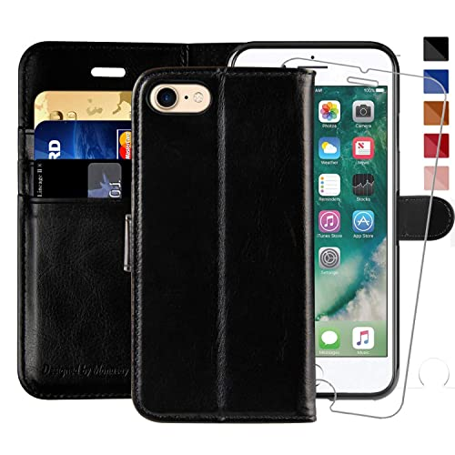 Stand Feature Classic Leather Wallet Case Flip Notebook Style Cover with Magnetic Closure Black Card Holders DENDICO Case for Apple iPhone 7 // iPhone 8