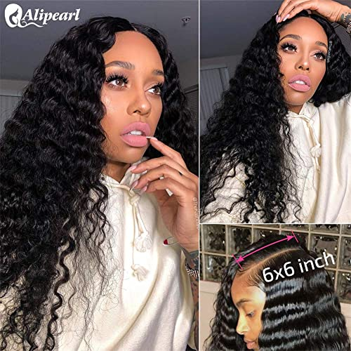 Deep Wave 6x6 Lace Front Human Hair Wigs Pre Plucked Deep Curly Brazilian Human Hair Wigs With Baby Hair For Black Women Ali Pearl Hair Wig 14 Inch 6x6 Wig Buy