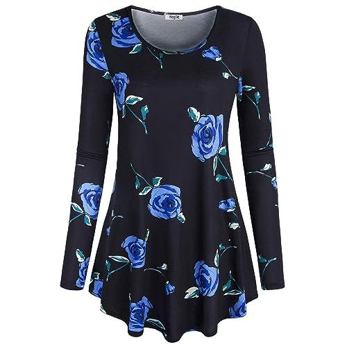 Buy Hibelle Flattering Tops For Women Softest Pregnancy Postpartum Blue Flowered Blouses Elegant Beauty Lightweight Stretch Floral Flowing Comfy Shirt Tunics Clothes Black Xx Large Online In Kuwait B07sfljrv1