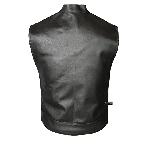 Small SOA Mens Concealed carry Collarless Premium Leather Biker Outlaw MC Club Vest Bikers Leather