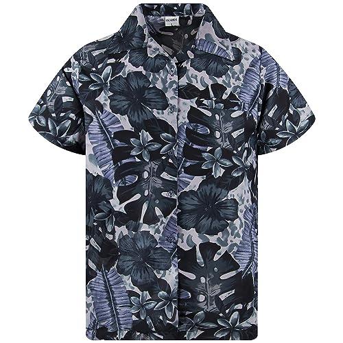 King Kameha Funky Hawaiian Shirt Men Shortsleeve Frontpocket Hawaiian-Print Leaves Flowers Allover
