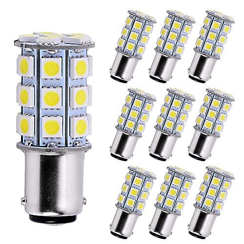 Makergroup 1076 1142 1004 90 LED Light Bulbs BA15D Double Contact Bayonet Base for Marine Navigation Anchor Stern Lights RV Camper Trailer Motorhome 10-40VDC 2W Warm White 4-Pack