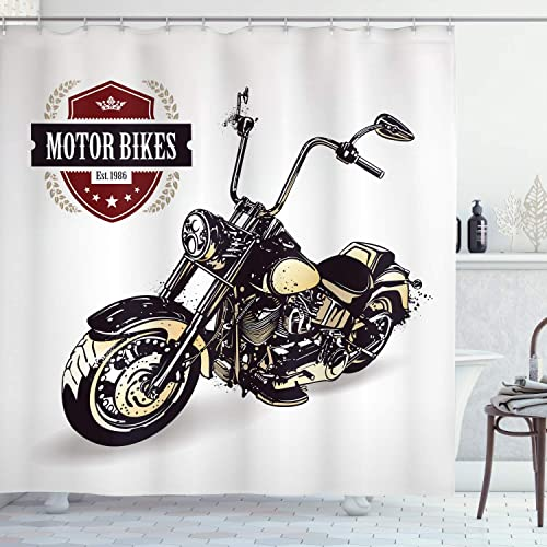 Eleroye 72 x 72 inches Shower Curtain Black Vintage Motorcycle Star Spangled Banner Red Navy Water Soap Resistant Machine Washable Fabric Bathroom Decor Set with Hook Bath Curtain