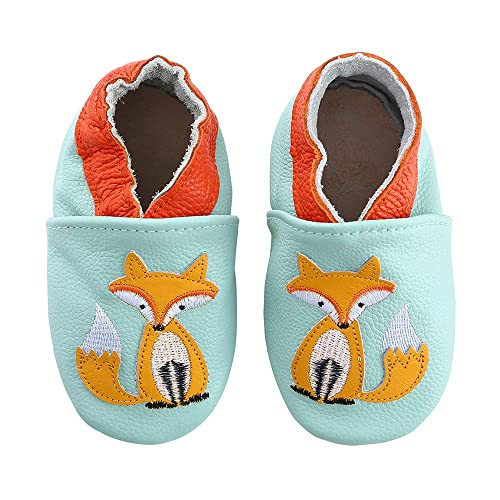 3//4 UK Child, Fox Cartoon Baby Moccasin Soft Leather Toddler First Walker Infant Shoes 0-24 Months