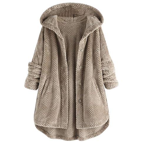 Saitingdianzi Winter Womens Fashion Pocket Hem Long Sleeve Plush Cardigan Hoodie Coat