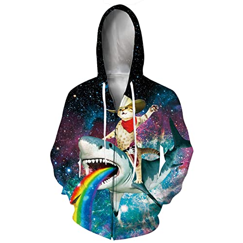 TUONROAD 3D Graphic Print Full Zip Hooded Sweatshirt Realistic Lightweight