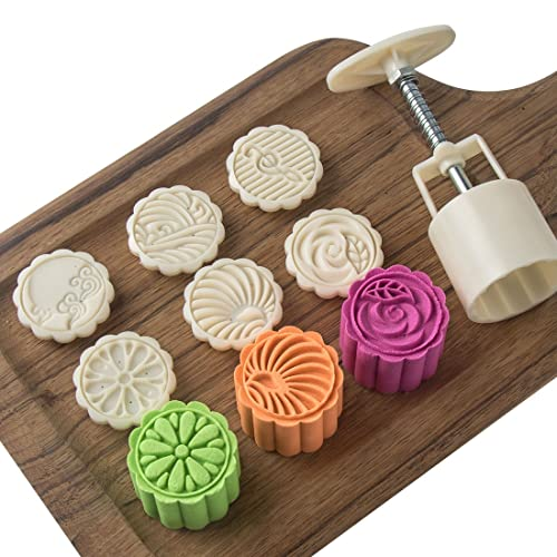 Wooden Moon Cake Mold Flower Cooking Mid-Autumn Festival Hand-Pressure DIY Mooncake Stamped Christmas Mold Tool Mode for Bath Bombs Cookie Muffin Baking Biscuit Chocolate Pastry