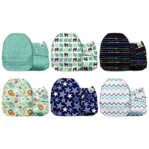 6 Pack with 6 One Size Microfiber Inserts Mama Koala One Size Baby Washable Reusable Pocket Cloth Diapers Wonder Land