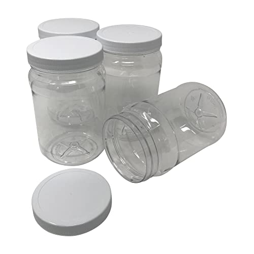 32-Ounce Square Plastic Jars 4-Pack; Clear Rectangular 4-Cup Canisters w// Black