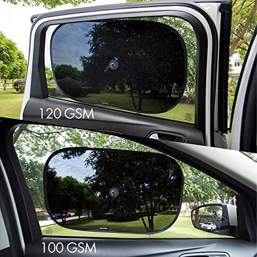 17 x 14 2 Semi-Transparent Basics Car Sun Shades with 120 and 100 GSM Polyester with Suction Cup for Darker Shadow and 2 Transparent 21 x 14