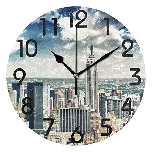 Buy Naanle 3d Magnificent New York City With Skyscrapers Print Round Wall Clock Decorative 9 5 Inch Battery Operated Quartz Analog Quiet Desk Clock For Home Office School Online In Kuwait B07ksxm4m7