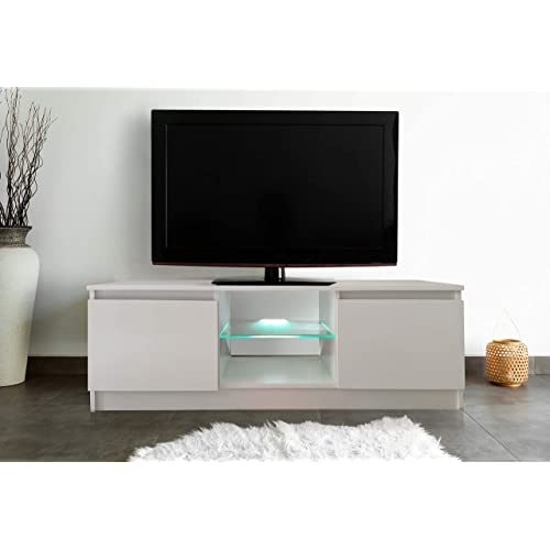120CM White High Gloss Matte TV Stand Unit Cabinet RGB LED Lights Remote Conrol