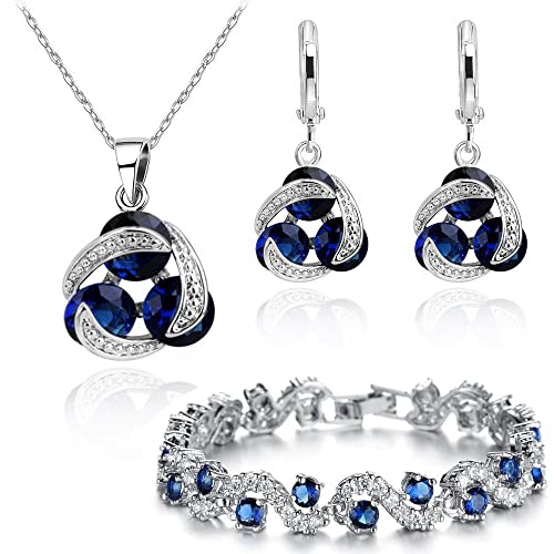 f82b92104e2 Buy Blue Simulated Sapphire Zirconia Crystals Set Pendant Necklace 18  Earrings Bracelet 18 ct White Gold Plated with Ubuy Kuwait. 9543984719