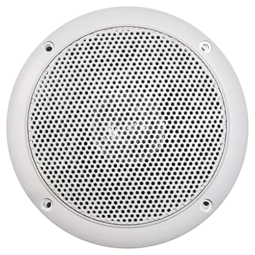 Hot Tub 2 Pairs of Magnadyne WR45W 5 Inch Waterproof Marine White Boat Outdoor Speaker with Integrated Plastic Grill