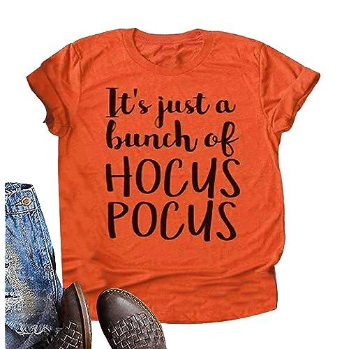 Its Just A Bunch of Hocus Pocus Shirt Women Sanderson Sisters Short Sleeve Halloween Tops Tee