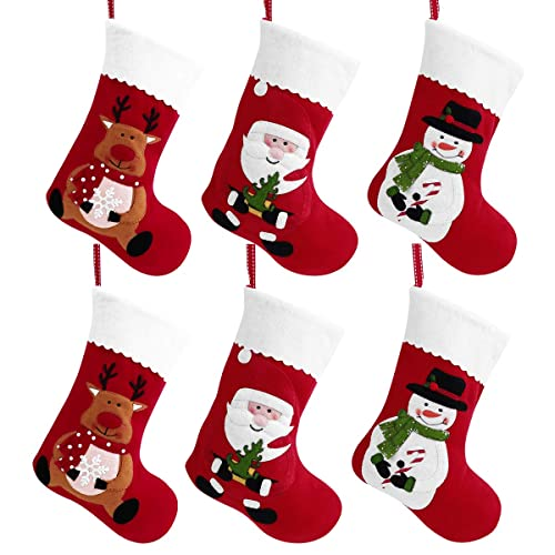 Boao 15 Pieces 3D Mini Christmas Stockings Felt Santa Snowman Gift Holders Gift and Treat Bags for Christmas Party Decorations