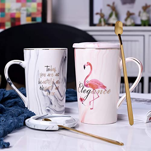 JOEJISN Flamingo Coffee Mugs Set with Golden Spoon Wedding Gift for Bride and Groom Gift for Bridal Shower Engagement Gift and Married Couples Anniversary Gift-Ceramic Marble Cups 12.8 oz