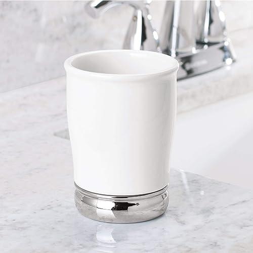 InterDesign White York Ceramic Toothbrush Holder Stand and Tumbler Cup Set