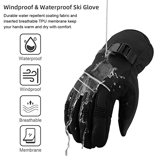 Driving Hunting Winter Cycling Gloves Anti-Slip Thermal Velvet Ski Glove with Reflective Strip for Snowboarding All Finger Touchsreen Waterproof Windproof Work Glove Men Women Snow Shoveling