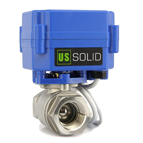 Solid 9-24V DC and 5 Wire Setup Motorized Ball Valve- 1//2 Stainless Steel Electrical Ball Valve with Full Port Indicate Open or Closed Position can be used with Indicator Lights, by U.S