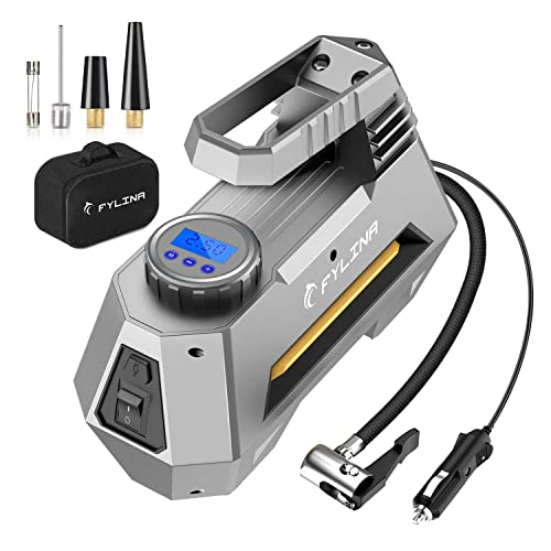 Preset Air Compressor Tyre Pump Car Pump 3 Nozzle Super Bright LED Light 12V 120W 120PSI Tyre Pump with Larger Air Flow 35L//Min SKEY Digital Tyre Inflator Large LED Screen for Cars//Motorcycle